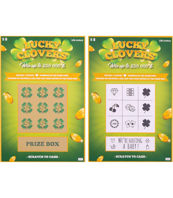 5 Pregnancy Announcement Scratch Off Cards | Baby Announcement Fake Lottery Scratchers Replicas | Surprise your Family and Friends and Reveal this Fabulous Baby News in the Most Memorable Way !