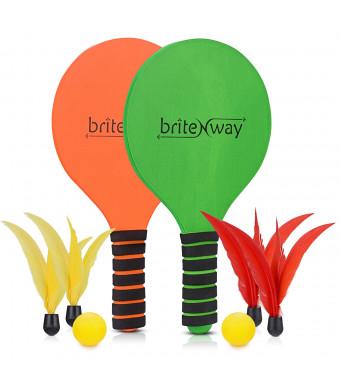 briteNway Paddle Ball Game Bundle with 2 Wooden Racket Paddles, 2 Balls, 4 Shuttlecocks and 1 Carrying Bag  Comfy Grip, Durable Craftsmanship  for Indoors and Outdoors, Beach, Backyard, Garden and More