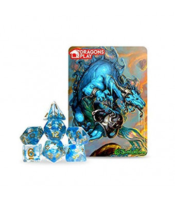 Dragons Play Zodiac Aquarius Dragon RPG Dice Set with Collectors Card