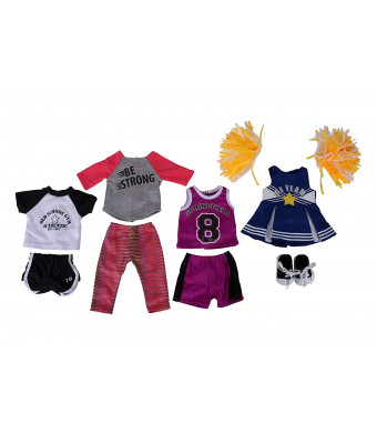 Springfield Sporty Girl Outfit Sets, Fits 18 American Girl Dolls, 5 Items: Soccer Outfit, Cheerleader Outfit and Poms, Basketball Outfit and Sneakers