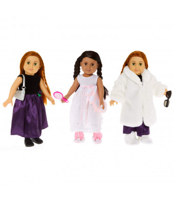 "Springfield Fashion Weekend at Grandmas Outfit Sets, Fits 18"" American Girl Dolls: Fur Coat White, Purple Dress W/Rose, Nightgown and Blankets, Bunny Slippers, Black Glitter Flats, etc."