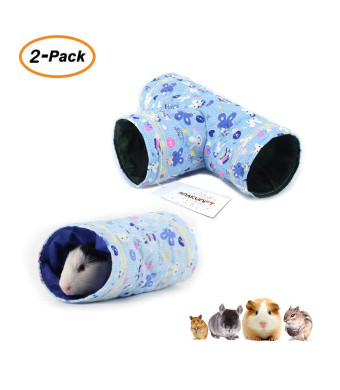 2 Pcs Small Animal Tube, Guinea Pig Hideaway Play Tunnel, Fun Pet Toy for Hamster, Chinchillas, Mice, Rats, Gerbil Rat, Squirrel, Hedgehog