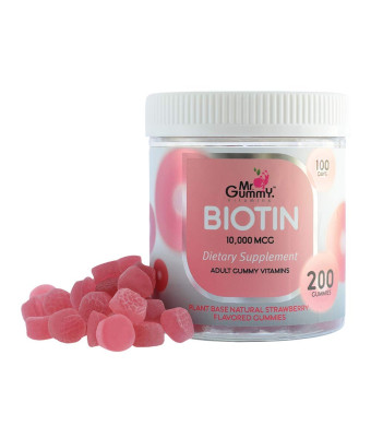Mr Gummy Vitamins Biotin Gummies Supplement for Men and Women | 10.000 mcg, Supports Healthy Hair and Nail Growth and Metabolism | [200 Gummies, 100-Day Supply] | for Men and Women