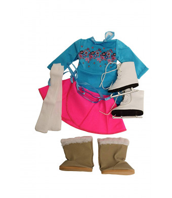 "Springfield Skating Outfit Sets, Fits 18"" American Girl Dolls, 4 Items: Doll Skirts, Leotard, Boots, Ice Skates, and Tights"