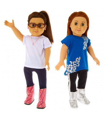 Springfield Fashion I Love Sparkles Outfit Set, Fits 18 American Girl Dolls, 6 Items: Hi-Lo Top and Pants, White Top and Jeggings, Brown Doll Glasses, Necklace and Earrings