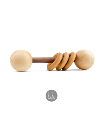Heirloom Quality Organic Wood Montessori Styled Baby Rattle by Homi Baby - Perfect Grasping Teething Toy for Toddlers - Sealed with Organic Virgin Coconut Oil and Beeswax (Dark Walnut)