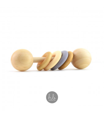 Homi Baby The Modern Color Block Montessori Baby Rattle (Oatmeal and Gray) - BPA and Lead Free Silicone Teether Rings - Hardwood Sealed with Organic Coconut Oil and Beeswax