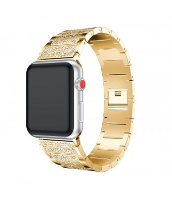 Herbstze Apple Watch Band, Alloy Bling Crystal Rhinestone Diamonds Replacement Watch Band Stainless Steel Bracelet Strap Apple Watch Series 3 Series 2 Series 1 All Versions (Gold, 38mm)