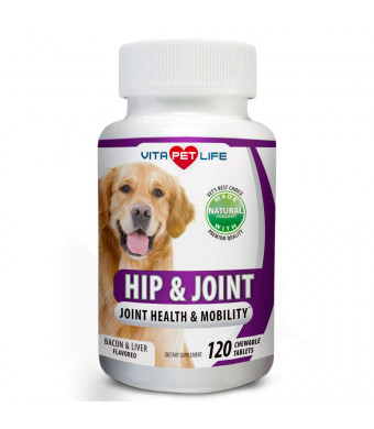 Glucosamine for Dogs, Hip and Joint Support for Dogs, MSM, Chondroitin, Pain Relief from Arthritis, Joint Inflammation and Dysplasia, Promotes Healthy Cartilage and Mobility, 100% Natural