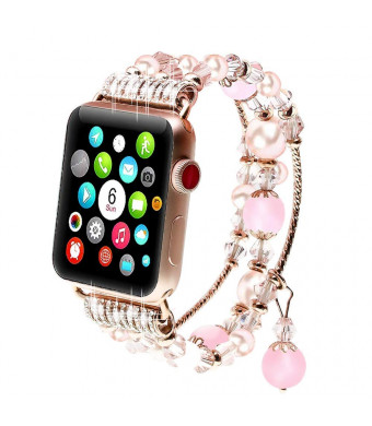 Greatshow for Apple Watch Band 38mm Series 3 for Women Cute Handmade Natural Agate and Pearl Iwatch Replacement Strap Girly Bracelet-Pink