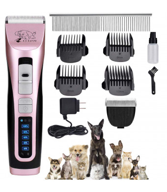 Pet Clippers -with 2 Shaving Heads3 Speed Low Noise Dog Hair Clippers Rechargeable Cordless Dog Trimmers Pet Dog Grooming Kit Professional Animal Grooming Shavers for Dogs, Cats, Rabbits and Horses