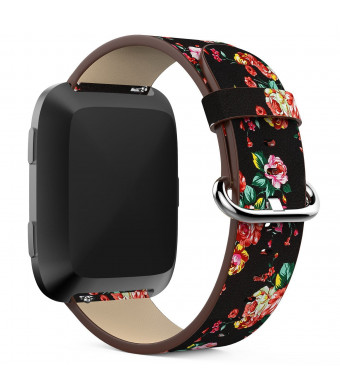 For Fitbit Versa Bands, Soft Leather Replacement Strap Band for Fitbit Versa Fitness Smartwatch Accessories Pastoral / Rural Style / Floral Printed Bracelet Wristband for Women Girls Man (Black)
