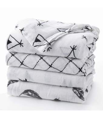 Upsimples Newborn Baby Swaddle Blanket Unisex Soft Bamboo Muslin Swaddle Blankets 47 x 47 Large Receiving Blanket for Boys and Girls, Set of 4-Arrow/Feather/Tent/Crisscross