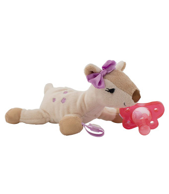 Dr. Brown's Lovey Pacifier and Teether Holder, 0 Months Plus, Deer with Pink Pacifier