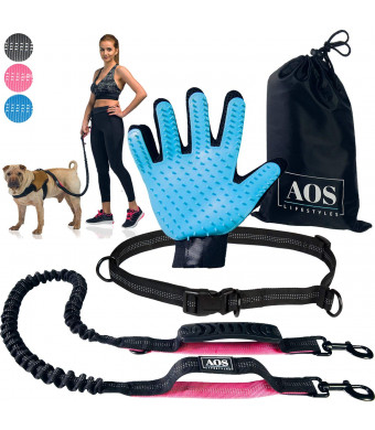 Hands Free Leash | for Running, Walking, Jogging, Training and Hiking | Running Dog Leash with Adjustable Waist Belt and Double Handles Bungee | for Medium and Large Dogs + Pet Grooming Glove (Pink)