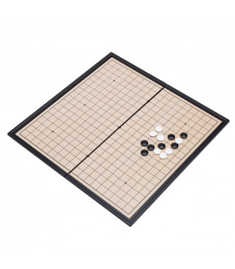 "THY COLLECTIBLES Magnetic Go Game Set with Single Convex Plastic Stones and Go Board, Portable WEI QI 10"" x 10"""