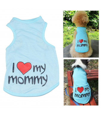 Rdc Pet I Love My Mommy Dog T Shirt, I Love My Daddy Dog Shirt, Dog Summer Clothes Dog Tank Top Vest from S to 9X-Large Small Dog, Medium Dog, Large Dog
