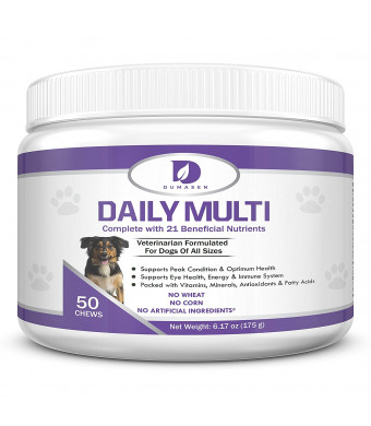 Daily Chewable Multivitamins for Dogs and Puppies | Chewy 21 in 1 Multi-Vitamin Supplement for Large and Small Dogs | Promotes Heart, Liver, Brain and Eye | Supports Healthy Skin, Hip, Coat and Digestive