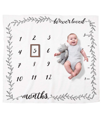Organic Baby Monthly Milestone Blanket by Pondering Pine | Photography Background Prop for Boy or Girl | Newborn to 12 Months | Baby Shower Gift