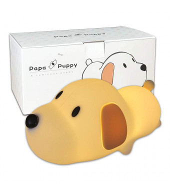 Cute Puppy Dog Nursery Night Light Lamp for Baby Toddlers Kids Children Bedroom Decorations | Soft Silicone Body with Touch Sensor Dual Colors Switch, Timer and Dimmer Function, USB Rechargeable