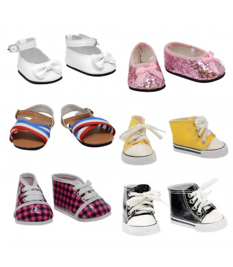 "The New York Doll Collection Shoe 6 Pairs of Doll Fits 18"" Dolls (Style 4) (Pack of 12)"
