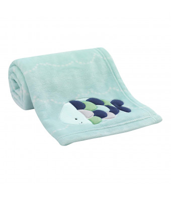 Lambs and Ivy Oceania Blue Turquoise Coral Fleece Baby Blanket with Fish