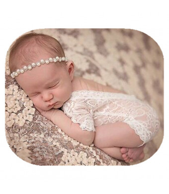 Fashion Cute Newborn Baby Girls Photography Props Lace Romper Photo Shoot Props Outfits White and Brown