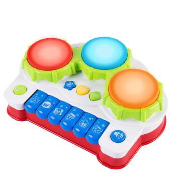 SGILE Baby Drum Musical Toy, Keyboard Piano Drum Set with Music and Lights, Infant Musical Electronic Learning Toy for 1 Year Old Baby Infant Toddler
