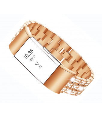Maccasing Bands Compatible Fitbit Charge 2 - Metal Replacemen Adjustable Bracelet/Accessories Wristband with Premium Rhinestone Compatible Fitbit Charge 2 Bands Women Men/Rose Gold Sliver Black