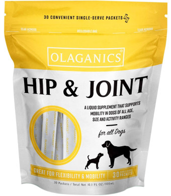 Olaganics Hip and Joint Liquid Gravy Supplement for Large Dogs. 30 Packets.