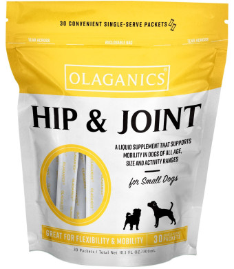 Olaganics Hip and Joint Liquid Gravy Supplement for Small Dogs. 30 Packets. Great Bacon Flavor.