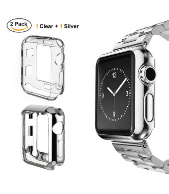 UBOLE Case for Apple Watch 38mm, UBOLE Scratch-Resistant Flexible Lightweight Plated TPU Full Body Protective Case for iWatch Series3, Series 2, Series 1 (Clear+Silver, 38mm)