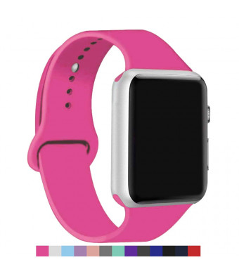 5Daymi Sport Bands Compatible for Apple Watch, Silicone iWatch Band 38mm 40mm Series 1, Series 2,Series 3,Series 4 (Barbie Pink, 38mm/40mm-S/M)