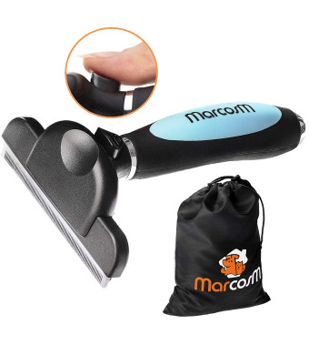 MarcosM Dog Brushes for Shedding - Professional Deshedding Tool for Dogs and Cats with Blade and Fur Ejector Button and Drawstring Storage Pouch