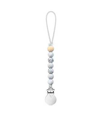 Ryan and Rose Beaded Pacifier Cutie Clip (Marble, Charley)