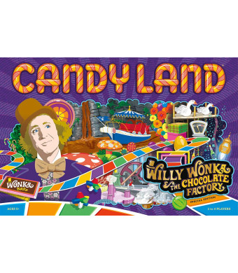Candy Land Willy Wonka and the Chocolate Factory Board Game | Themed Candy Land Board Game | Artwork from the Willy Wonka Movie