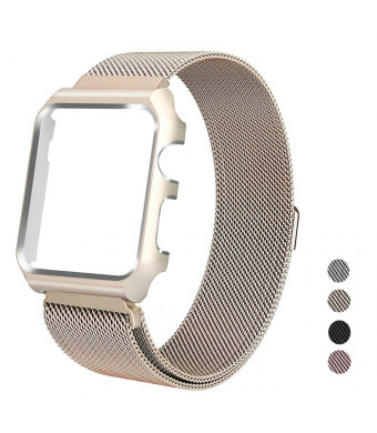 Bands Compatible for Apple Watch Band Milanese Loop 38mm,Stainless Steel Magnetic Band with Metal Case Cover Adjustable Replacement Strap Compatible with Apple Watch Series 3 2 1 (38mm-Gold)