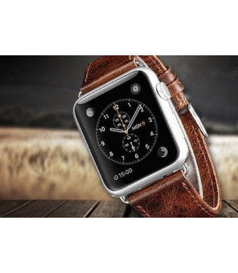 Genuine Leather Replacement Band 42mm Compatible for Apple iwatch Series 1,2,3, Dark Brown