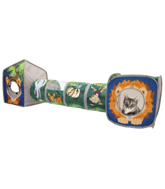 Kitty City Pop-up Cat Cube, Play Kennel, Cat Bed, Jungle Combo, Collapsible Cat Cube, Cat Bed, Tunnel, Cat Toys