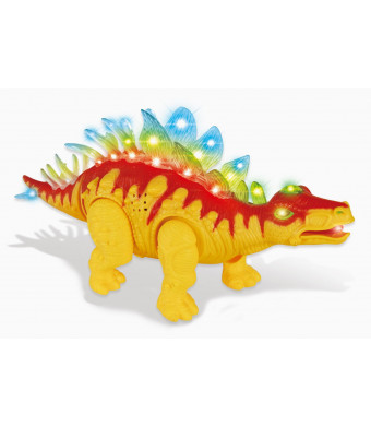 PowerTRC Walking Stegosaurus | Flashing Lights | Realistic Sounds | Electronic Pet (Orange)