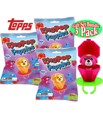 Topps Ring Pop Puppies Collectible Ring and Puppy Figure Series 1 Mystery Pack Gift Set Bundle - 3 Pack