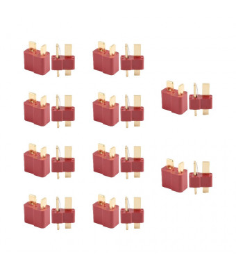 Gens ace 10 Pairs T Plug Connectors Deans Style Male and Female Connectors for RC LiPo Battery (20-Pack)