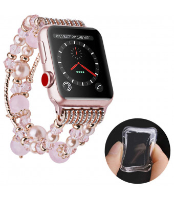 Wolait Compatible for iWatch Bracelet, Luxury Faux Pearl Elastic Stretch Bracelet for Series 3, Series 2, Series 1(38mmPink)
