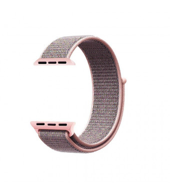 For Apple Watch Sport Loop Band 38mm, Leagway HookandLoop Fastener Adjustable Closure Wrist Strap Breathable Woven Nylon Replacement Band for iwatch Nike+, Series 1/2/3, Sport, Edition (Pink Sand, 38mm)
