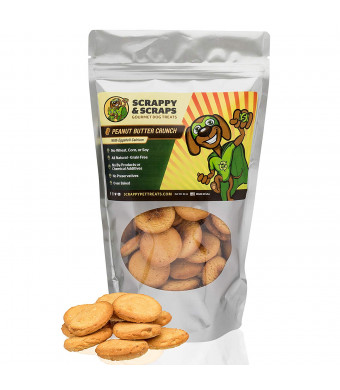 Scrappy Pet Treats for Dogs - 10 oz Peanut Butter Crunch Dog Treat - Oven-Baked Dog Snacks, Dog Biscuits - Dog Grain Free Treats - Snacks for Dogs - Peanut Butter for Dogs - Dog Treats Natural Cookie