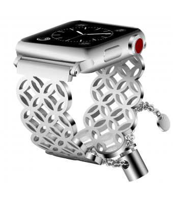 VIGOSS Jewelry Metal Bangle Compatible with Series 4 44mm Apple Watch Band 42mm Women Men Luxury Silver Cuff Bling Hollow Bracelet Stainless Steel Strap for iWatch Series 4/3/2/1 Window Grille