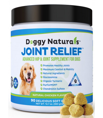 Joint Relief | Glucosamine for Dogs All Natural Hip and Joint Supplement for Dogs, Glucosamine, Chondroitin, MSM, Turmeric, Gluten Free, Vitamin, Arthritis Pain, Hip Dysplasia, Relief MobilityMADE USA