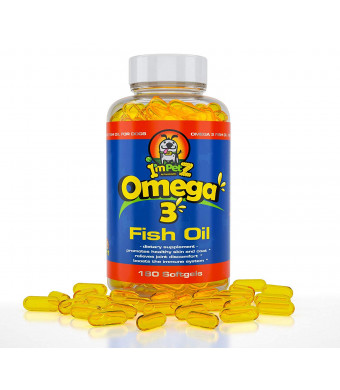 ImPetZ GMP Omega 3 Fish Oil for Cats and Dogs | Human Grade  180cps | Reduces Skin Allergies and Shedding | Improves Dry Skin/Odor | Fast Recovery After Injuries | Healthy Coats/Joints | Immunity Boost |