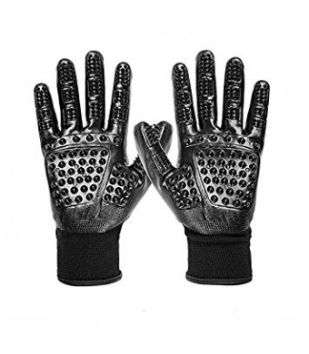 Pet Grooming Gloves - 1 Pair - for Cats, Dogs and Horses - Long and Short Fur - Gentle De-Shedding Brush - Enhanced Design