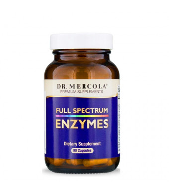 Dr. Mercola Full Spectrum Enzymes - 90 Capsules, 30 Days Supply Dietary Supplement to Break Down Food Molecules, Digest and Absorb The Nutrients - Helps Reduce Occasional Digestive Discomfort*
